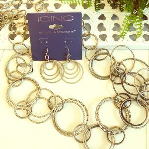 The Icing silver bangle necklace and earrings set